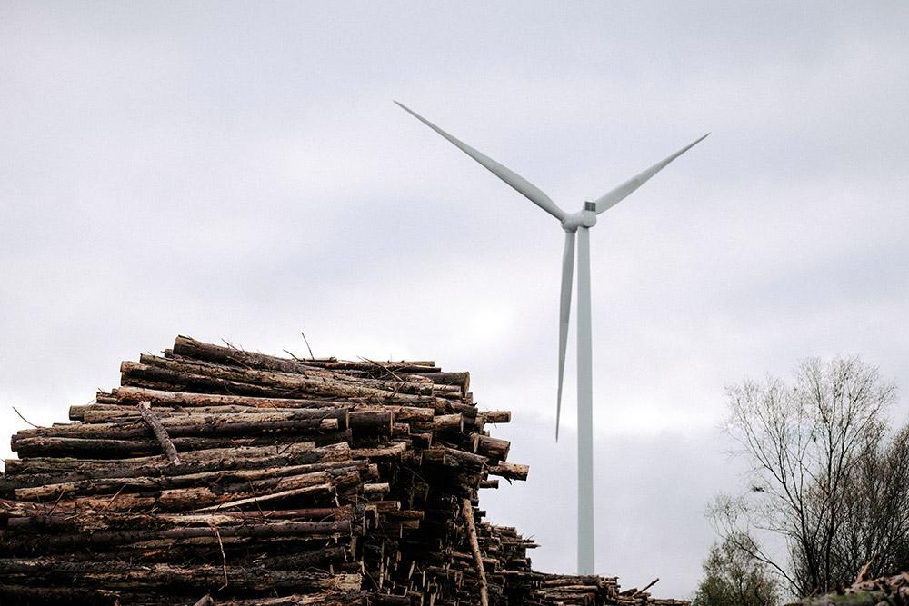 Logs-and-Turbine---Wind-Energy